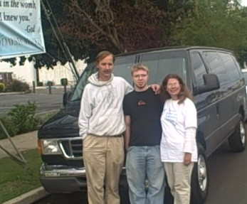 Our son Andrew came to the 40 Days for Life vigil site to show us the van he bought for us