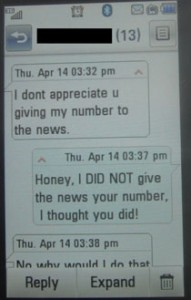 Text from girl: I dont appreciate u giving my number to the news (objecting to KGET TV-17 reporter contacting her)