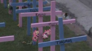 While all of the crosses were exposed to the water, only the Mary cross retained the water.