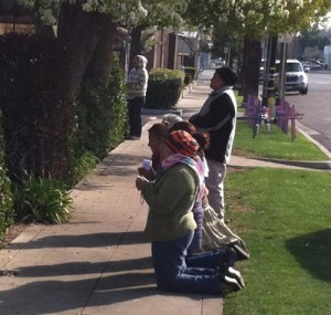 People praying outside Bakersfield FPA abortion center