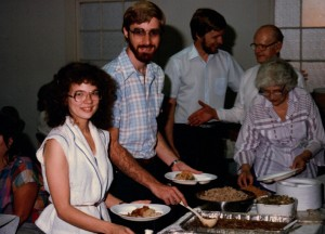 Tim and Terri Palmquist, with Phil Palmquist and Herman and Margaret Palmquist in the background.