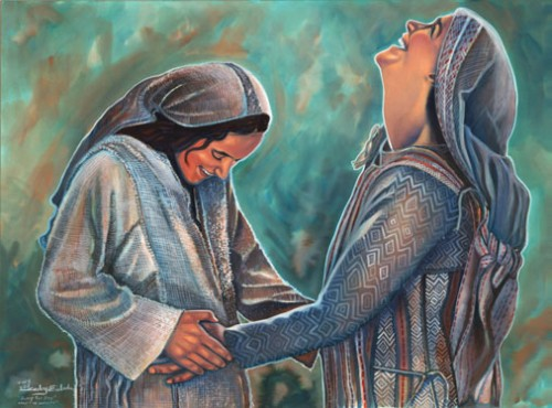 Elizabeth's preborn baby leaps at the presence of Mary's baby